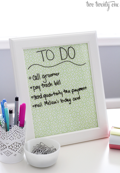 Make your own Dry Erase Board and Desktop Tray.